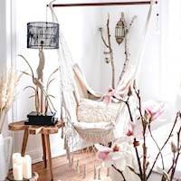 Luxury French Cream Outdoor Hanging Chair