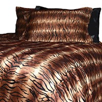 Tiger Print Faux Micro Fur Queen Quilt Cover Set