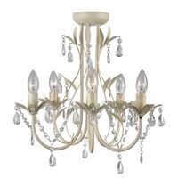 French Provincial 5 Light Glass Crystal Chandelier