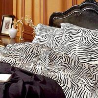 Zebra Print Polyester Satin Queen Bed Sheet Set