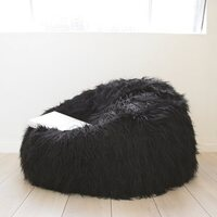 Large Beanbag Cover in Shaggy Black Soft Faux Fur