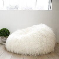 Polyester Faux Fur Shaggy Bean Bag Cover in Cream