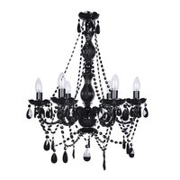 Black 6 Arm Glass Crystal Chandelier - Romance