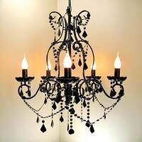 Dignity Acrylic 5 Arm Crystal Chandelier in Black