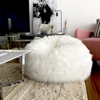 Large Bean Bag Cover in Soft Long Lush White Fur