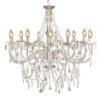 Large 12 Arm Crystal Chandelier in White Acrylic