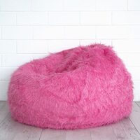 Polo Shaggy Fur Bean Bag Chair Cover in Pink
