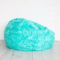 Polo Shaggy Fur Bean Bag Chair Cover in Turquoise