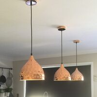 Nora Hammered Metal Hanging Pendant Light in Copper