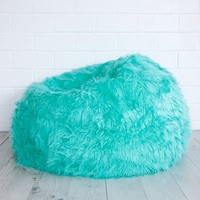 Long Lush Fur Cloud Bean Bag Chair Cover Turquoise