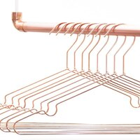 6x Copper Wire Coat Hangers with Shoulder Divots