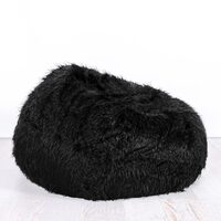 Polo Shaggy Fur Bean Bag Chair Cover in Black