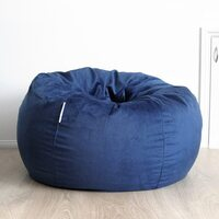 Pierre Micro Fur Fabric Bean Bag Chair Cover - Navy