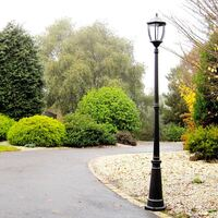 Victorian Outdoor Solar Garden Lamp Post in Black