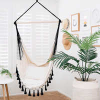 Soho Provincial Cream Hammock Chair w/ Black Ropes