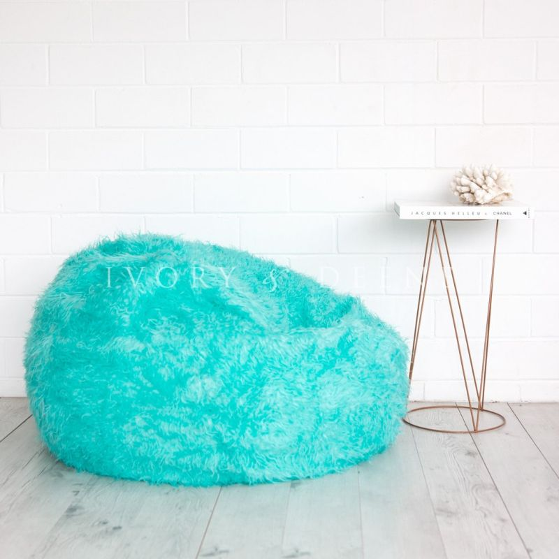 Polo Shaggy Fur Bean Bag Chair Cover In Turquoise Buy