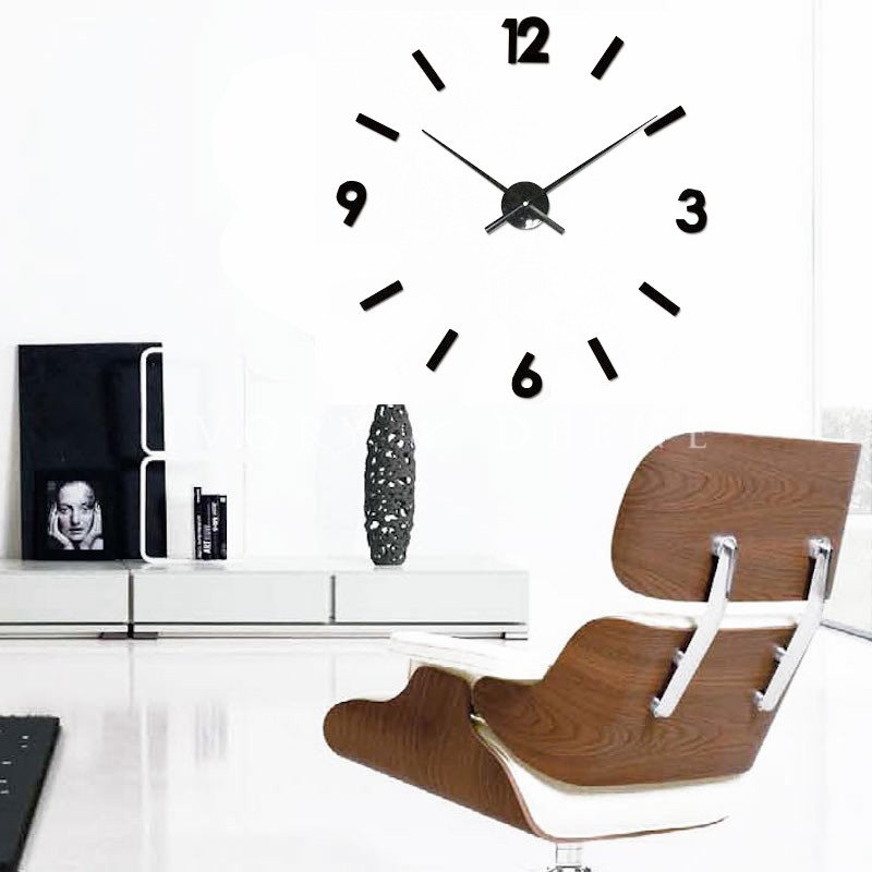 Large Minimalistic Adhesive Wall Clock In Black Buy Wall