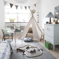 Kid's Natural Cotton & Linen Tee Pee Tent in White