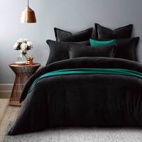 King Micro Fur Fabric Soft Quilt Cover Set in Black
