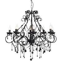 8 Light Acrylic Crystal Pendant Chandelier in Black