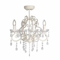 4 Light Vienna Glass Crystal Chandelier in Cream
