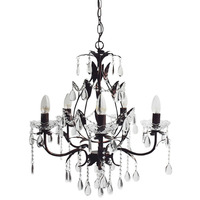 5 Light Glass Crystal Metal Chandelier Copper Black