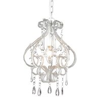 White Darling Chandelier w/ Clear Acrylic Crystals