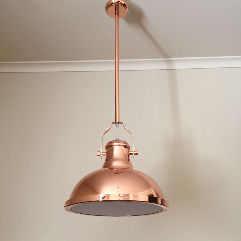 Amani Copper Pendant Light In Polished Copper 38cm Buy