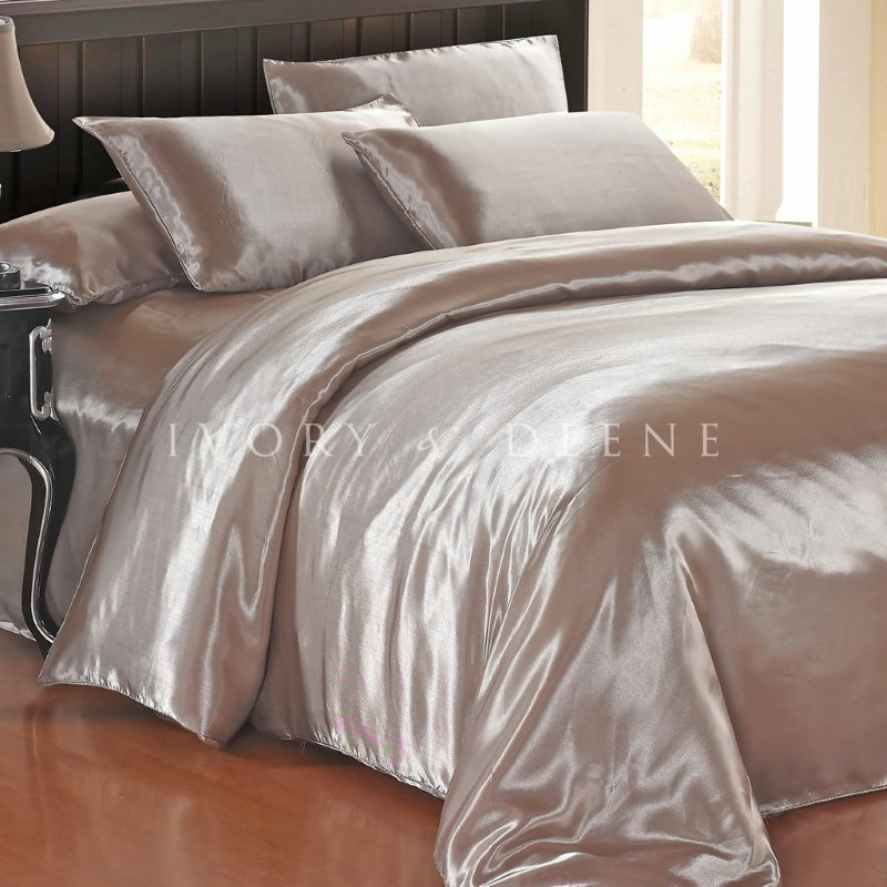 Luxury Latte Polyester Satin King Quilt Cover Set Buy