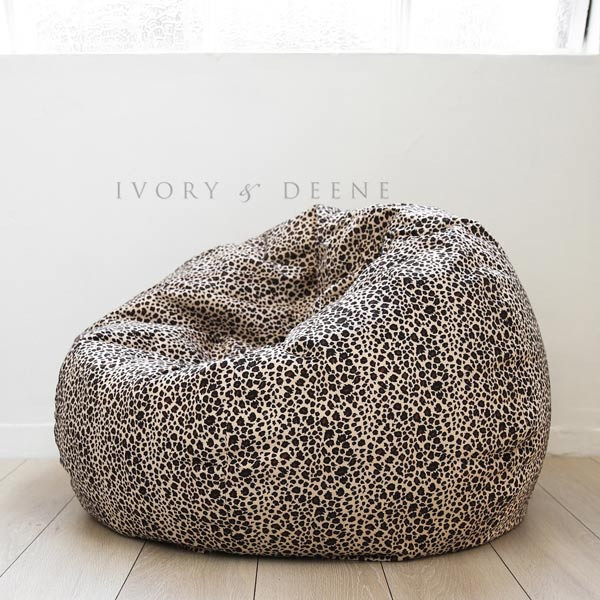 Large Round Leopard Print Velvet Fur Bean Bag Cover Buy