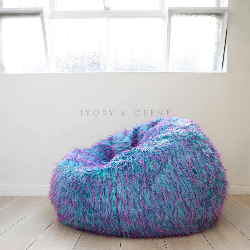 retro colourful large bean bag cover in faux fur buy. Black Bedroom Furniture Sets. Home Design Ideas