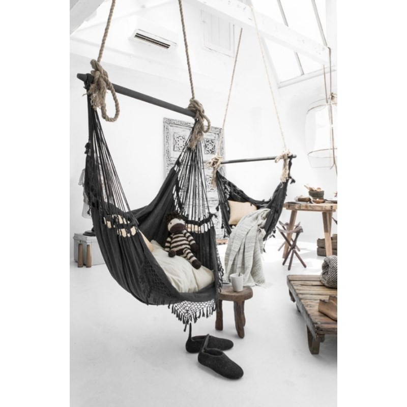 bohemian outdoor hanging hammock chair in charcoal buy hanging chairs. Black Bedroom Furniture Sets. Home Design Ideas