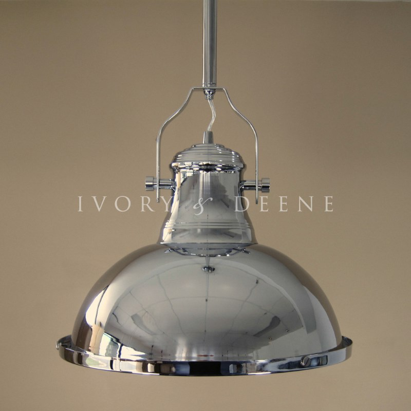 Large Industrial Warehouse Pendant Light: Large Amani Industrial Pendant Lamp In Chrome