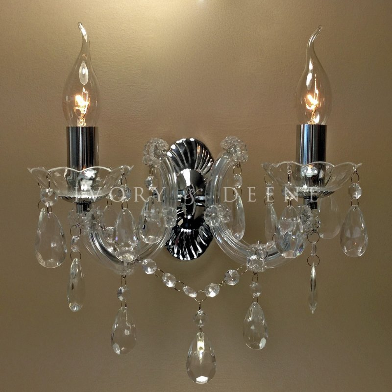 Wall Light Chandelier: Marie Therese Acrylic Chrome 2 Arm Wall Chandelier