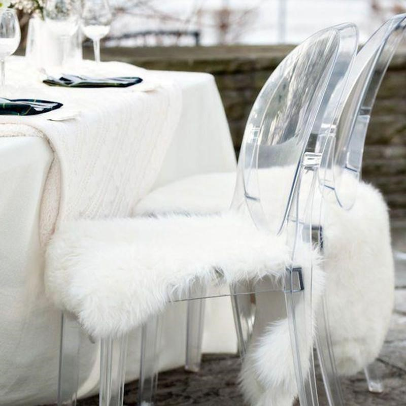 Faux Fur Chair Cover/Rug - White