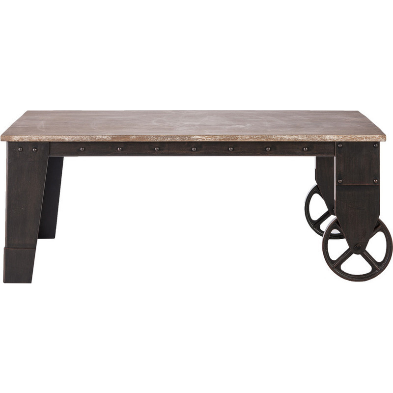 Wrought Iron Coffee Table With Drawers: Industrial Wrought Iron Wood Coffee Table W/ Wheels