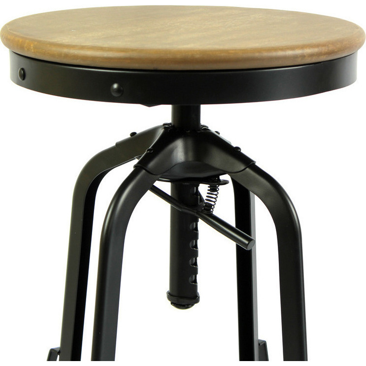 Industrial Adjustable Iron And Wood Bar Stool Black Buy