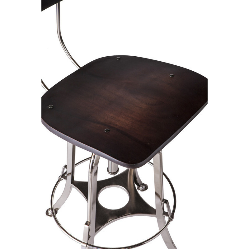 Rustic Adjustable Iron Amp Wood Bar Stool In Nickel Buy