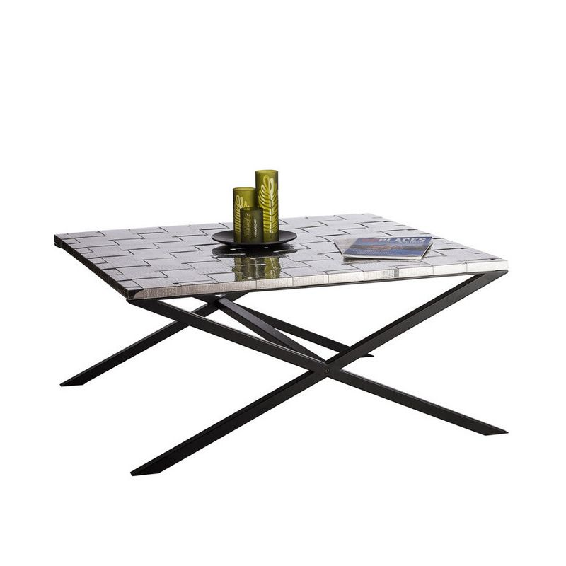 Wrought Iron Coffee Table With Drawers: Woven Steel & Iron Coffee Table In Croc Pattern 1m