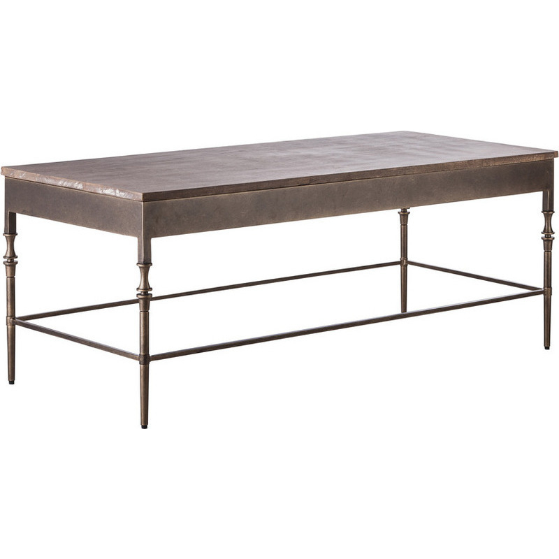 Wrought Iron Coffee Table With Drawers: Minimal Rustic Wrought Iron & Wood Coffee Table
