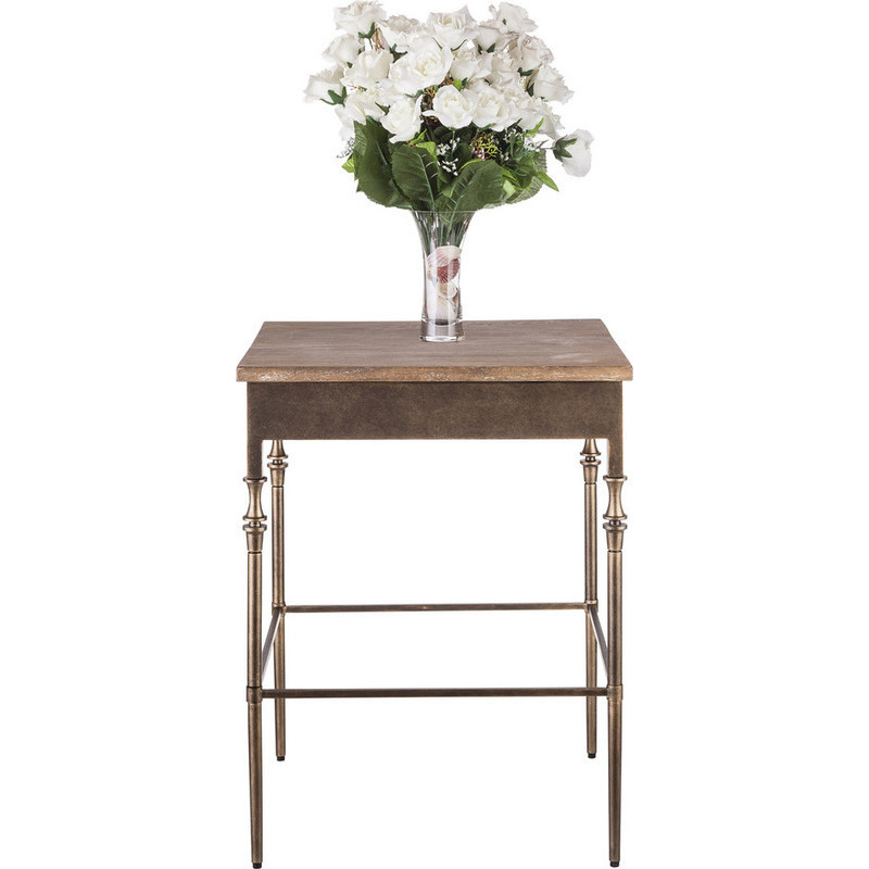Minimal rustic wrought iron wood side end table buy for Iron and wood side table