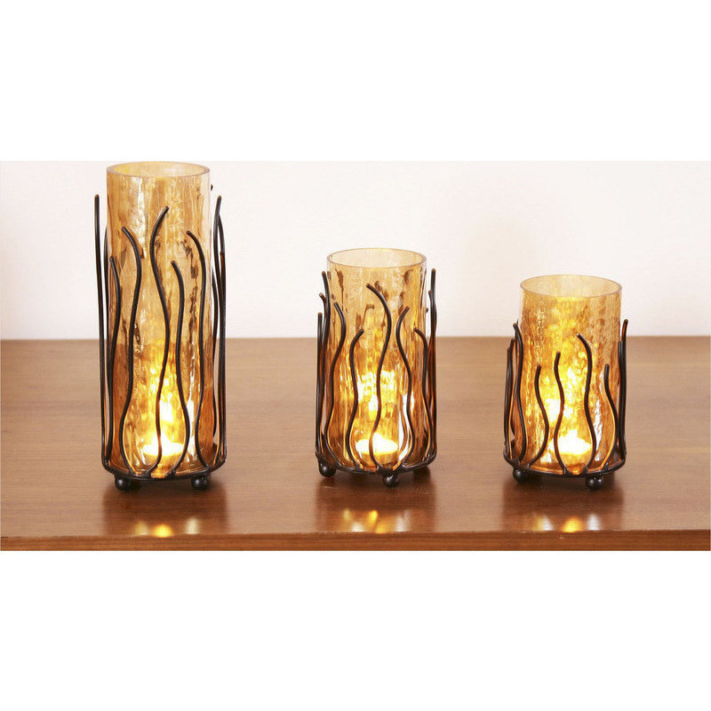 Set Of 3 Wrought Iron And Glass Candle Holders Buy