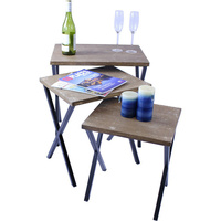 Rustic Wood Top Rock Nested Side Table Set of 3