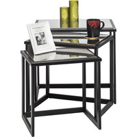 Nested Side Table Set of 3 with Stainless Steel Top