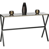 Console Table Wrought Iron w/ Woven Stainless Steel