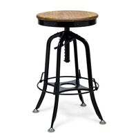 Industrial Adjustable Iron and Wood Bar Stool Black
