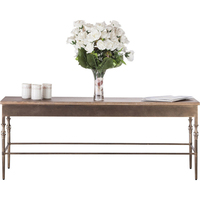 Minimal Rustic Wrought Iron & Wood Coffee Table