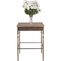 Minimal Rustic Wrought Iron & Wood Side End Table