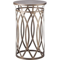Cross Legged Engraved Iron Side Table in Brass