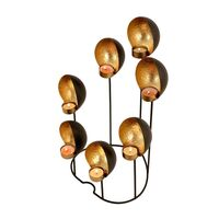 Wrought Iron Shell Shaped 7 Candle Holder in Gold